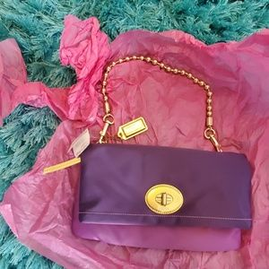 nwt coach purple satin Amanda fold over handbag